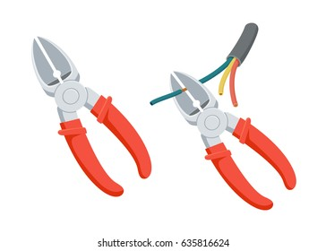 Cut wire cutters. Pliers repair tool. Electrician instruments. Support service vector illustration isolated on white.