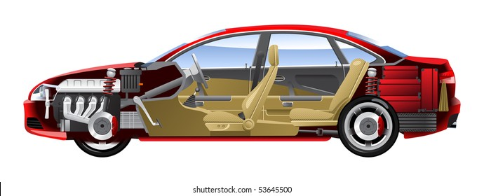 Cutaway Car Illustrations. (Simple gradients only - no gradient mesh.)