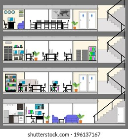 Cutaway Office Building with Interior Design Plan - Detailed Grouped and Layered EPS10