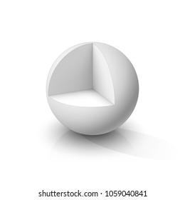 Cutaway sphere. Vector illustration