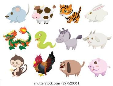 cute 12 chinese zodiac animals set cartoon vector