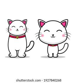 cute 2 cat caricature design mascot kawaii