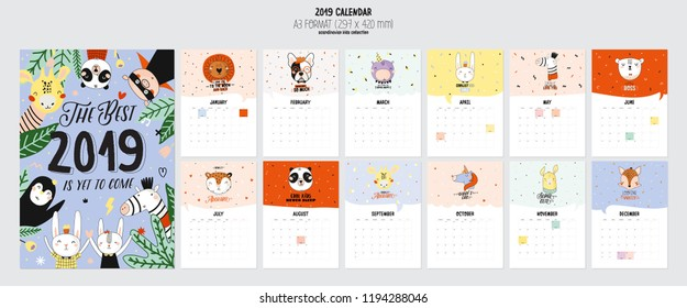 Cute 2019 Calendar. Yearly Planner Calendar with all Months. Good Organizer and Schedule. Cute holiday  illustration with funny animals. Good for kids