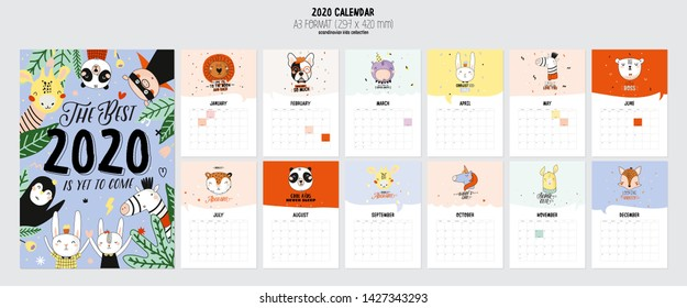 Cute 2020 Calendar. Yearly Planner Calendar with all Months. Good Organizer and Schedule. Cute holiday  illustration with funny animals. Good for kids