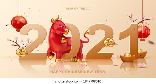 Cute 3d illustration red ox walking through 2021 with floral, hanging lanterns decorations