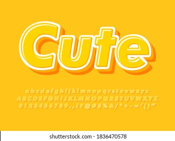 Cute 3d simple and minimal font effect for headline and logo design. Sweet and friendly yellow alphabet. Alphabet, number and Symbol