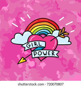 "Cute 80s 90s comic style doodle sticker patch badge design of feminism symbol: heart with lgbt rainbow and lettering: ""Girl Power"" on grunge texture pink background. Print design concept template"
