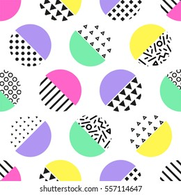 Cute 80's style seamless geometric pattern with circles for your decoration