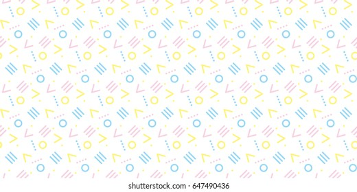 Cute 80's style seamless geometric pattern with circles for your decoration. Abstract decorative repeatable motif for surface design, fabric, wrapping paper