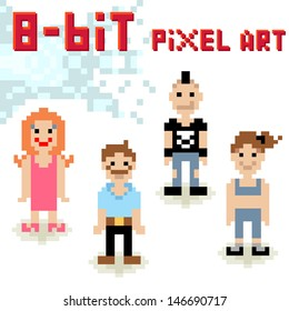 Cute 8-bit pixel character set of casual people
