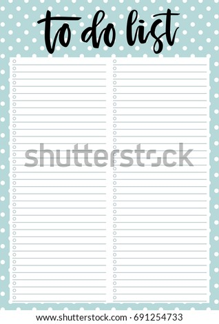 cute a 4 template do list lettering stock vector royalty free