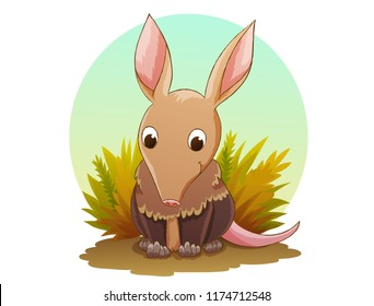 Cute aardvark cartoon character animal. Background of dry grass and blue sky isolated in circle. Vector illustration.