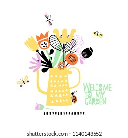 Cute abstract bouquet in a watering-can. Vector Illustration. Flat style.