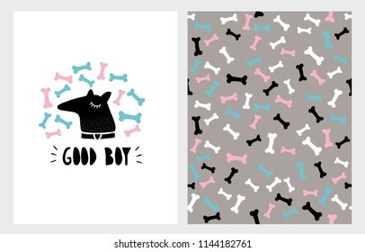 Cute Abstract Hand Drawn Dog Vector Illustration Set. Black Dog Head With  Bones Around on a White Background. Colorful Bones Pattern. Handwritten Black Good Boy Text. Simple Infantile Style Art.
