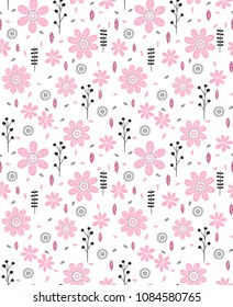 Cute Abstract Hand Drawn Floral Vector Pattern. Grey and Black Twigs, Pink Flowers and Leaves, White Background. Simple Infantile Design.