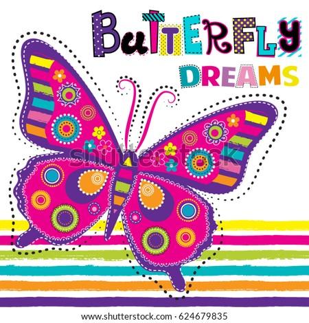 Cute Abstract Illustration Cartoon Butterfly Kids Stock Vector
