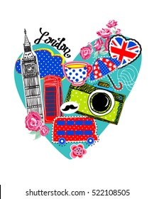 Cute abstract illustration with city LONDON on heart. background for children and girls. Pretty fashion girlish illustration for t-shirt design. Girlish print with camera, bus, Big Ben, british flag.