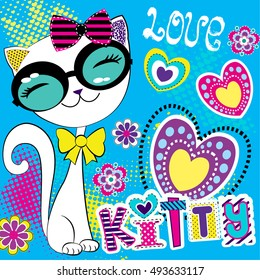 Cute abstract illustration with hearts, ornament, cartoon cat with heart. Wallpaper for children and girls. Pretty fashion girlish illustration for t-shirt design. Girlish print