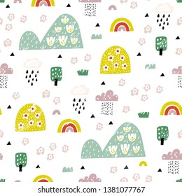 Cute abstract landscape with hills, trees, flowers, clouds and rainbows. For kids fabric, textile, nursery wallpaper. Childish Illustration.