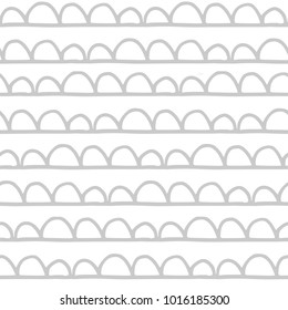 Cute abstract seamless pattern scallops grey on white background
