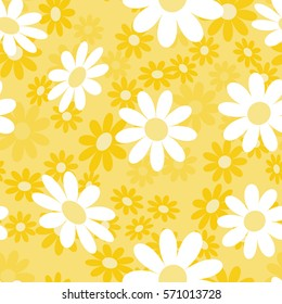Cute abstract seamless pattern with small colorful chamomile flowers on the yellow background. Summer floral vector illustration. Template for fashion prints, textile,fabric, wrapping gift paper.