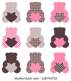 Cute abstract Teddy retro set ( brown & pink )