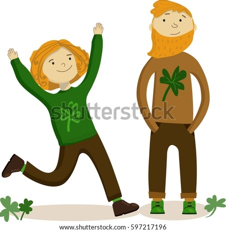149a3b7d21f Irish celebrating St Patrick s Day. Clover leaves on the ground. Isolated.  Background for shop