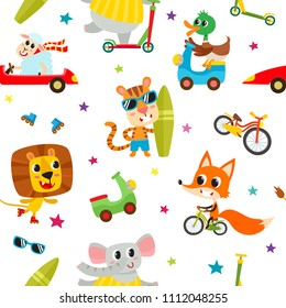 Cute adorable animals character on different transport. Vector seamless with domestic and wild animals isolated on white used for children magazine, greeting card, web pages and scrapbooking.