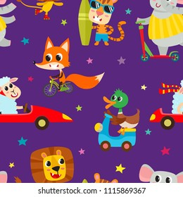 Cute adorable animals character on different transport. Vector seamless with domestic and wild animals isolated on violet used for children magazine, greeting card, web pages and scrapbooking.