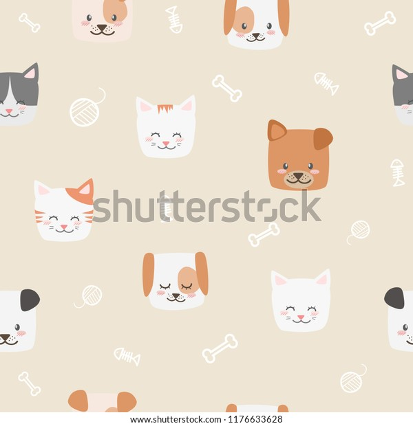 Cute Adorable Baby Cat Dog Faces Stock Vector Royalty Free