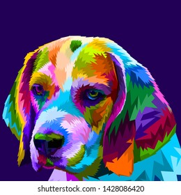 Cute and Adorable Beagle dog illustration on abstract pop art