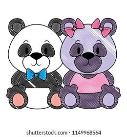 cute and adorable bears panda couple characters