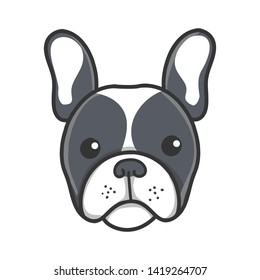 Cute Adorable black Frenchie French Bulldog Puppy Cartoon head icon