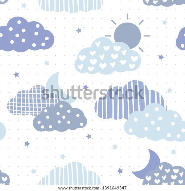Cute Adorable Blue Sky Pastel Sun Royalty Free Stock Image