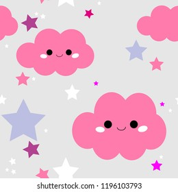 Cute and adorable cartoon cloud backdrop with little stars. Seamless Pattern. Perfect for your baby designs and textiles