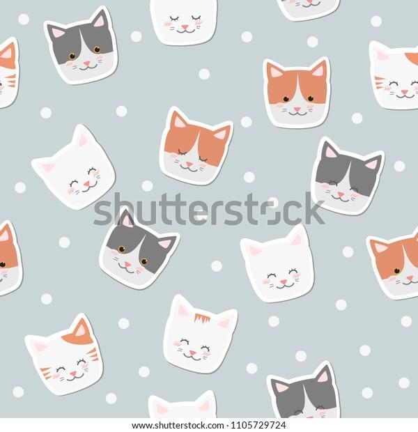 Cute Adorable Cats Face Cartoon Seamless Stock Vector Royalty