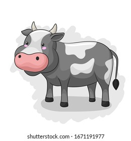Cute And Adorable Cow standing up. Vector Illustration