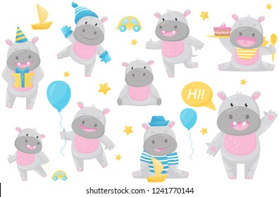 Cute adorable hippo in different situations set, lovely happy smiling behemoth animal cartoon character vector Illustration
