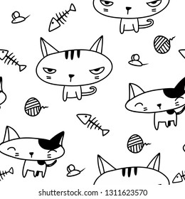 Cute adorable kawaii black and white cat kitten angry and happy sketch thin line cartoon doodle style seamless pattern background wallpaper vector eps10