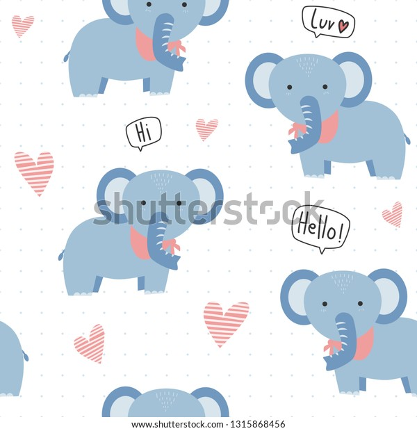 Cute Adorable Kawaii Blue Elephant Heart Stock Vector