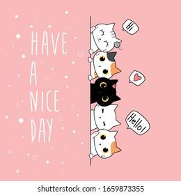 Cute Adorable Kawaii Cat Kitten Friends Greeting Cartoon Doodle on Pink Background Wallpaper Cover