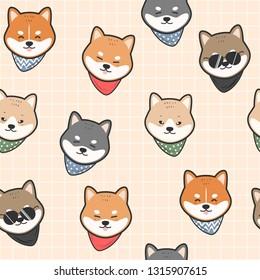 Cute adorable kawaii japanese dog shiba inu head face cartoon doodle seamless pattern background wallpaper vector eps10