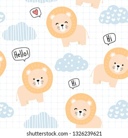 Cute adorable kawaii orange lion with cute cloud and sky hand drawn cartoon doodle on grid blue theme seamless pattern background wallpaper vector eps10 can use for nursery