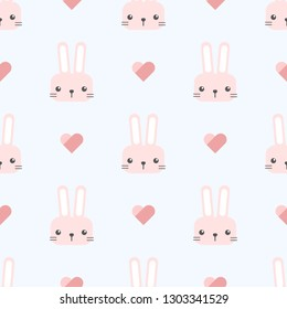 Cute adorable kawaii pink and light blue rabbit bunny head cartoon doodle style  seamless pattern background wallpaper vector eps10