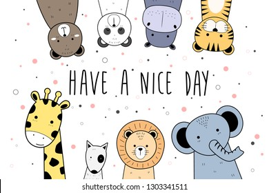 Cute adorable kawaii teddy bear panda hippopotamus tiger giraffe dog puppy lion elephant animals thin line cartoon doodle style with have a nice day background wallpaper template element vector eps10