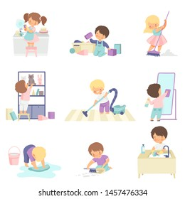 Cute Adorable Kids Doing Housework Chores at Home Set, Cute Little Boys and Girls Washing Floor, Dishes, Cleaning Up Toys Vector Illustration