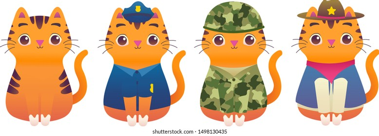 Cute Adorable Kitty Cat Professional Worker Mascot Modern Flat Illustration Character - Police, Soldier, Army, Marine, Sheriff, Cowboy