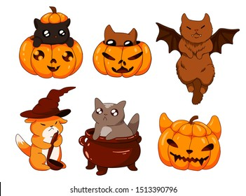 cute adorable little kittens in carved pumpkin, in witch pot, cat with bat wings sticker halloween collection set, kitty with little ears,  paws and tails and big eyes
