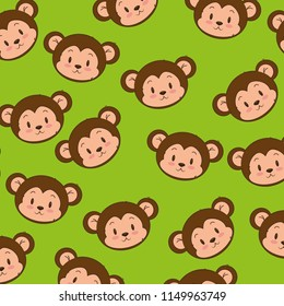 cute and adorable monkey pattern background