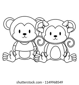 cute and adorable monkeys couple characters